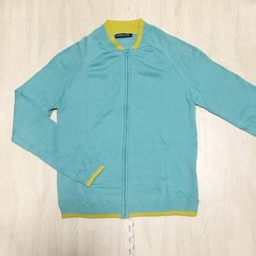 【used】バイカラー ジップアップ長袖ニット/M/水色×イエロー
