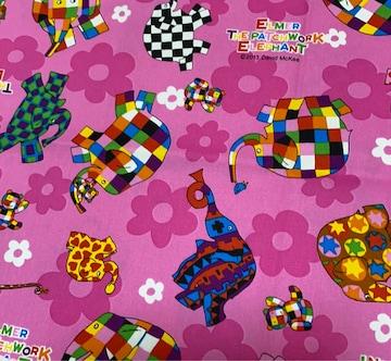 ゾウのエルマー☆生地☆布100×25�p♪ハンドメイド☆ハギレ