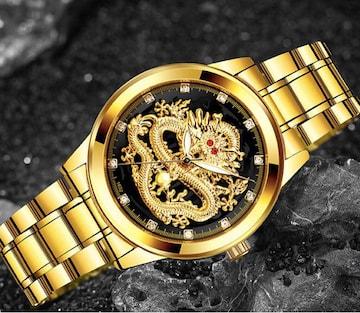 新品 ドラゴン スタイル メンズ ラグジュアリー腕時計 ゴールド