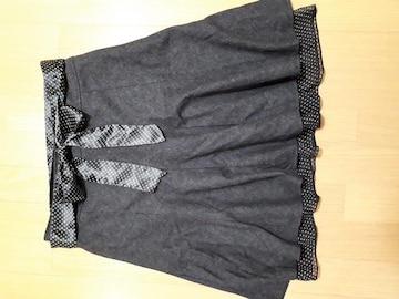 新品 裾のレースとウエストリボンが揃えの可愛い秋冬物スカート