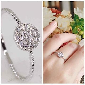 指輪18KRGPプラチナ高級CZ上品リングyu1045e