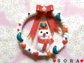 デコパーツ♪樹脂粘土 クリスマス リボンリース 雪だるま
