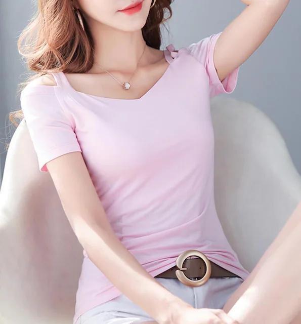 お買い得890円★オフショル デコルテ/Tシャツ ピンクM  < 女性ファッションの