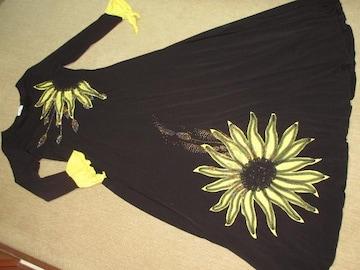 BIGヒマワリモチーフ*フリルロング丈ドレスワンピース(黒)