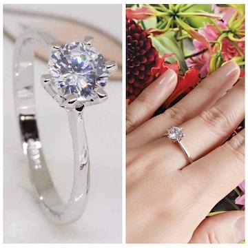 指輪18KRGPプラチナ高級CZ一粒王冠リングyu1035e