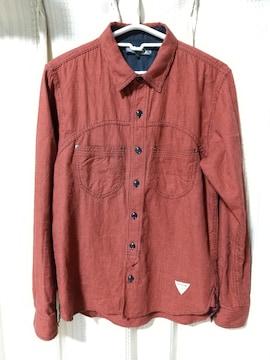 アジテーターAGITATOR千鳥格子長袖シャツサイズ36朱色赤日本製アメカジルード服