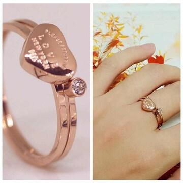 指輪 18K RGP ゴールド  一粒 ハート セット リング gu1333e