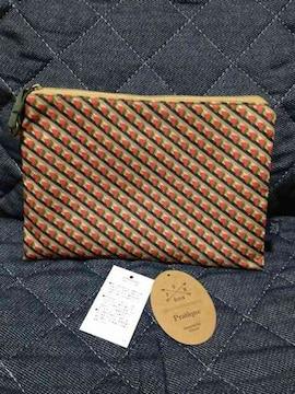 プラティーク フラットポーチ 小物入れ 和柄 幾何学模様 オレンジ バッグ鞄 新品