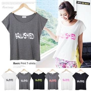 美ラインベーシックTシャツトップス/ホワイト×ネオンピンク