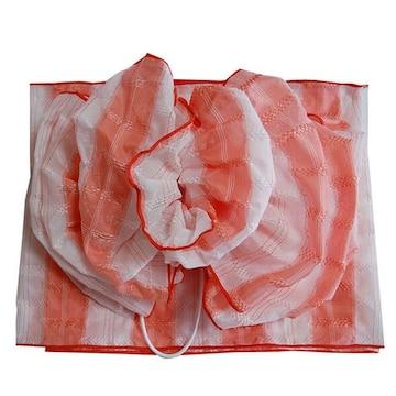 超簡単!浴衣に♪子供用花結び兵児帯/フラワーボール★オレンジ