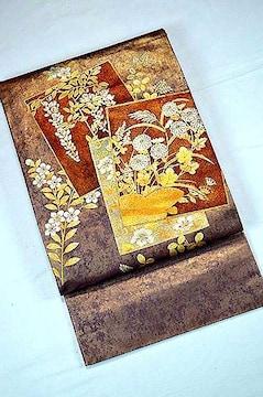 千鳥606*あずき色 金銀箔置きの粋な草花柄 袋帯