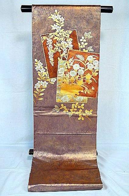 千鳥606*あずき色 金銀箔置きの粋な草花柄 袋帯 < 女性ファッションの