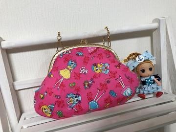 昭和レトロ 乙女柄 がま口ポーチ ハンドメイド  pink