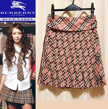 バーバリーブルーレーベル チェック プリーツスカート ピンク 36 正規品