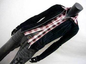 フェイク付チェックベロアカットシャツ 黒 M[686041]