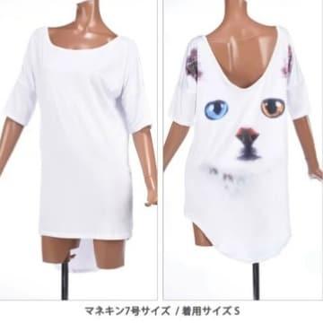 L,LLXL3L/新品☆半端袖オッドアイ猫ロングチュニック21