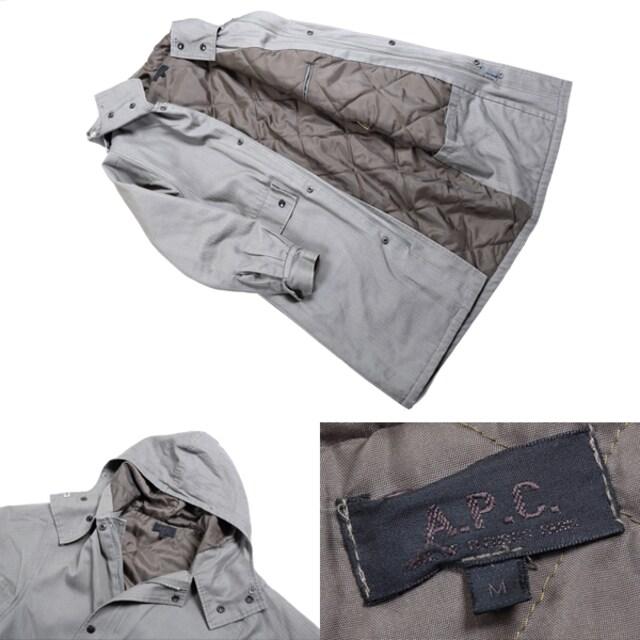 A.P.C.◆ストライプフード付きコート◆アーペーセーAPC/M < ブランドの