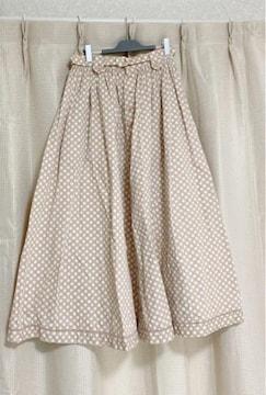 PINKHOUSE ピンクハウス ドットベージュ系ピンクフレアスカート
