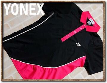 ヨネックス 刺繍入り切替ポロシャツ ピンク×黒