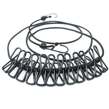 物干しロープ 折りたたみ洗濯ロープ 12個クリップ付き BK