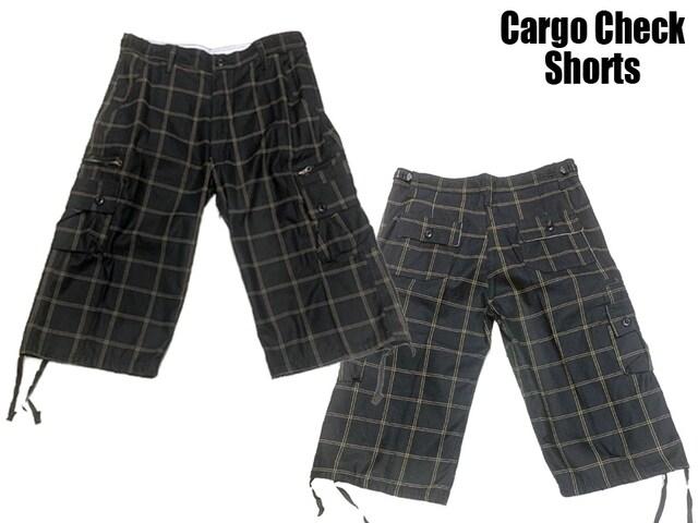 新品 チェックショートパンツ黒x黄色ー 38 カーゴポケット付き < 男性ファッションの