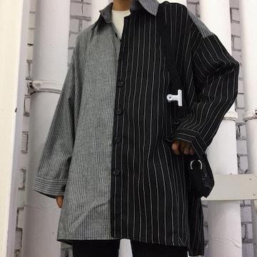 【Lサイズ】ストライプシャツ アシンメトリー モノトーン 長袖
