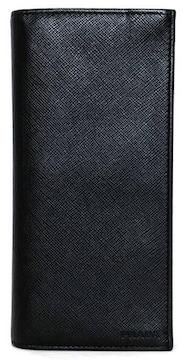 正規プラダ長財布二つ折り型押しレザーサフィアーノブラ