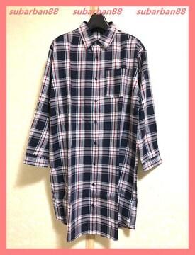 イング☆新品4290円☆ゆるチェックシャツチュニックワンピース