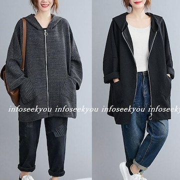 〜3L4L5L大きいサイズ/フード付きZIPジャケット/黒
