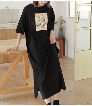 新品[7982]特大(7XL)黒半袖Tシャツロングワンピース