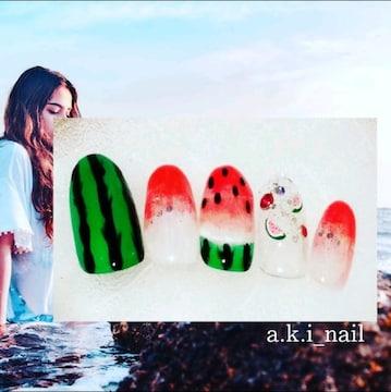 ジェルネイルチップ☆付け爪☆夏ネイル~スイカ