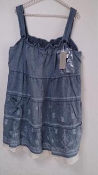 大きいsize☆新品タグ裾刺繍入りワンピ☆コットン100*3L