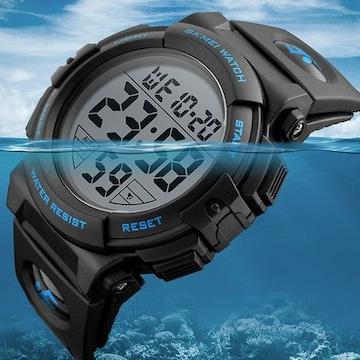 デジタル腕時計 メンズ 防水腕時計 ブルー