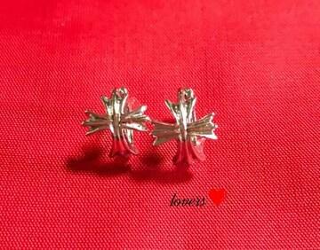 送料無料2個セットクロムシルバークロス十字架フープピアス値下