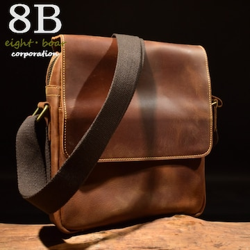 ◆牛本革 プルアップレザー 正方形 中型ショルダーバッグ◆茶c8