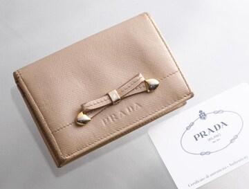 K0585M 真贋済 プラダ サフィアーノ 本革 名刺 カードケース
