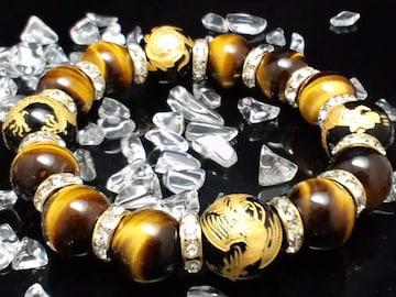 四神獣オニキスxタイガーアイ金ロンデル数珠