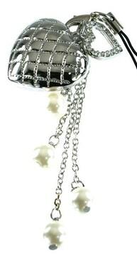 携帯ストラップ・縫い目ぷっくりハート シルバー