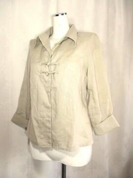 【コムサイズム】サンドベージュの麻ジャケット