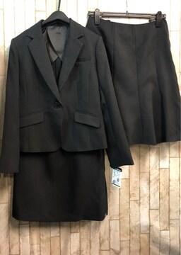 新品☆11号♪黒無地スカート2種付スーツ♪お仕事にも55丈☆n901