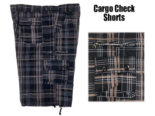 新品 チェックショートパンツ 黒x黄色 34 カーゴポケット付き < 男性ファッションの