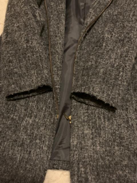 レプシムLEPSIMグレーフード付きコートゆったり軽量ウール < ブランドの