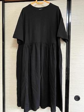 大きいサイズ新品4Lブラック半袖無地マキシOP