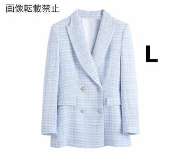 blue ツイード ジャケット ブレザー ZARAお好きな方に★ L