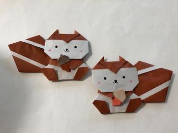 ハンドメイド 折り紙 リス2匹 壁面飾り 幼稚園
