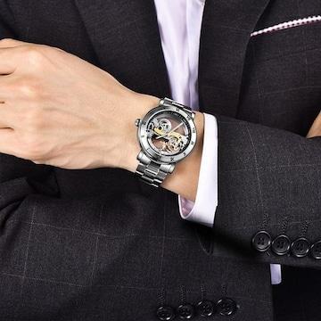 腕時計 メンズ 自動巻き 究極のスケルトン 夜光 シルバー