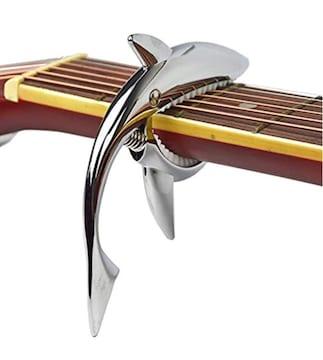 送料無料 ギター サメ カポタスト カポ  メッキ シルバー 合金