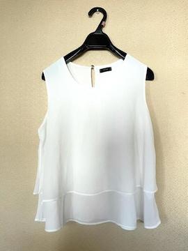 【春夏】FITME◆ホワイト◆楊柳素材◆洗練裾フリルチュニック