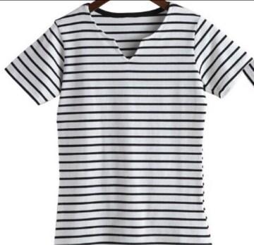 ≪新品≫ ボーダーTシャツ 胸スリット半袖  サイズL