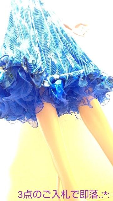 社交ダンス☆光沢ブルーリーフ柄ふり�AスカートB266☆3点で即落